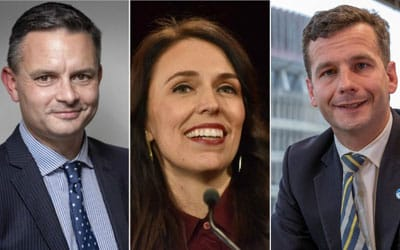Jacinda Ardern- Labour Party , James Shaw Green Party, David Seymour Act party