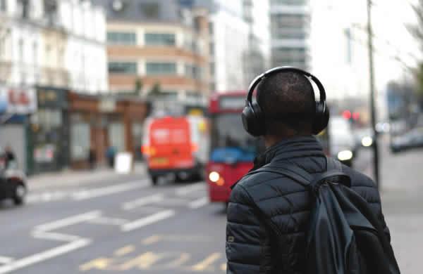 using headphones while crossing
