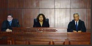 The presiding Judges in the case, Justice Vui Clarence Nelson, Justice Niava Mata Tuatagaloa & Justice Lesatele Rapi Vaai. - Radio Samoa