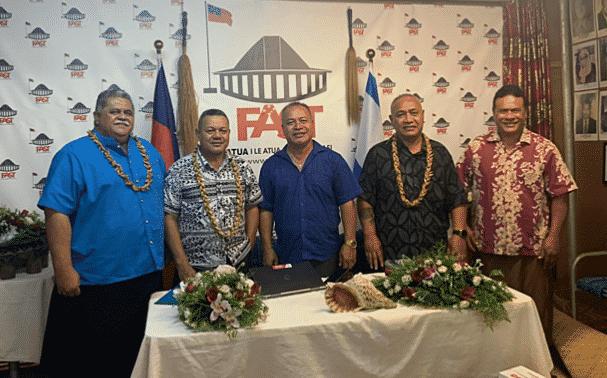 F.A.S.T Chairman, Laauli Leuatea Schmidt; Deputy Chairman, Olo Fiti Vaai; Treasurer, Leatinuu Wayne Fong; Secretary, Va'aaoao Salu Alofipo with H.R.P.P. candidate Tavui Asiata Tiafau