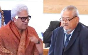 Prime Minister, Fiame Naomi Mataafa and former Cabinet Minister Tapunu'u Niko Lee Hang